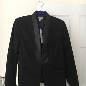DKNY black and leather blazer